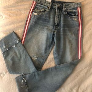 Light washed red striped jeans